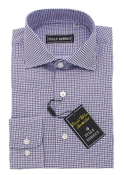 Navy Check Sport Fit Casual Shirt