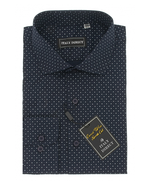 Navy Pattern Sport Fit Casual Shirt