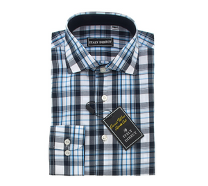 Blue/Black/White Plaid Sport Fit Casual Shirt