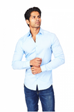 Light Blue Athletic Fit Casual Shirt
