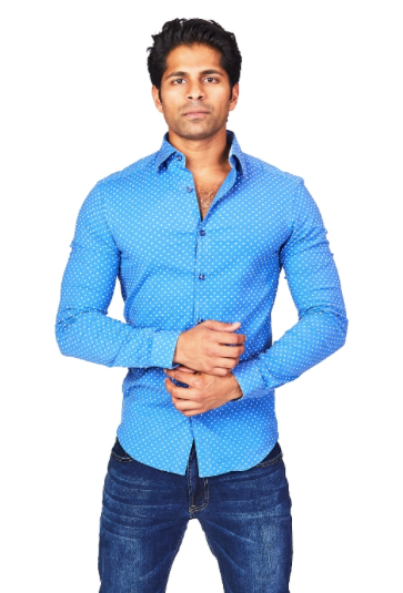 Geo Blue Athletic Fit Casual Shirt