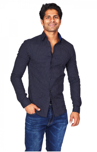 Navy Polka Dot Athletic Fit Casual Shirt