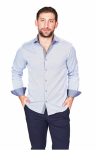 White & Blue Sport Fit Casual Shirt