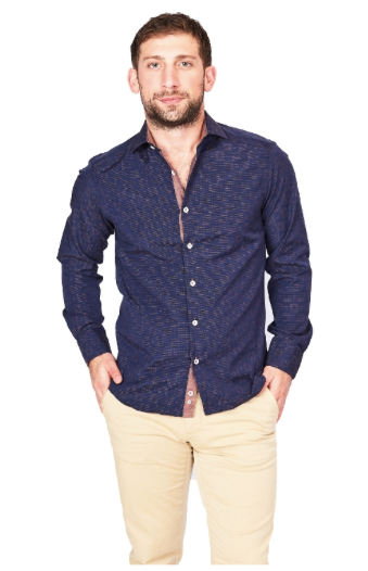 Blue & Brown Sport Fit Casual Shirt