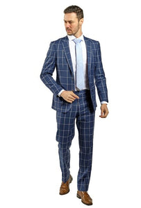 Slim Fit Blue Windowpane Suit