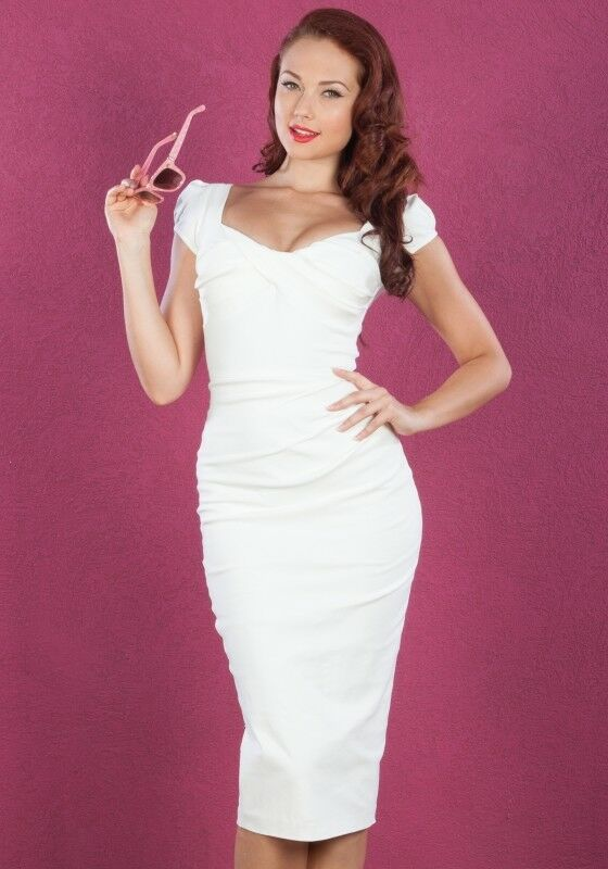 Billion Dollar Baby 1940's Fitted Dress in White by Stop Staring!