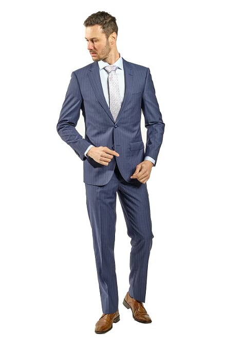 Slim Fit Blue Suit With White Lines