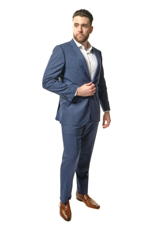 Modern Fit Blue Windowpane Suit