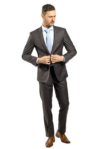 Slim Fit Charcoal Suit With Blue Lines