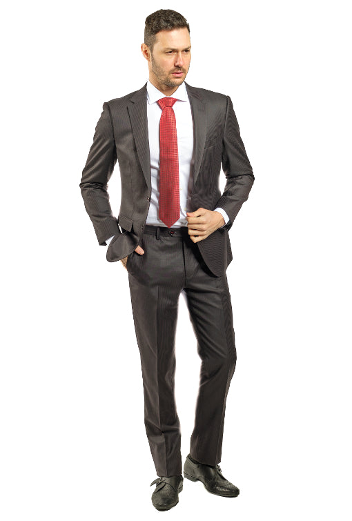 Slim Fit Brown Stripe Suit With Red Detail