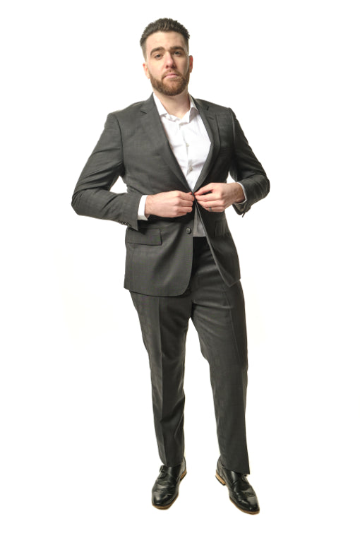 Classic Fit Dark Grey Plaid Suit