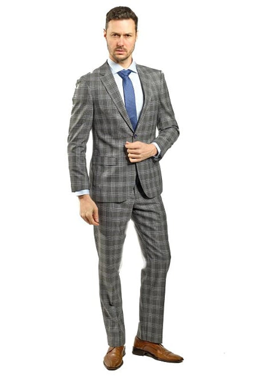 Slim Fit Grey Plaid Suit