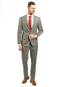 Slim Fit Grey Windowpane Suit With Red Detail