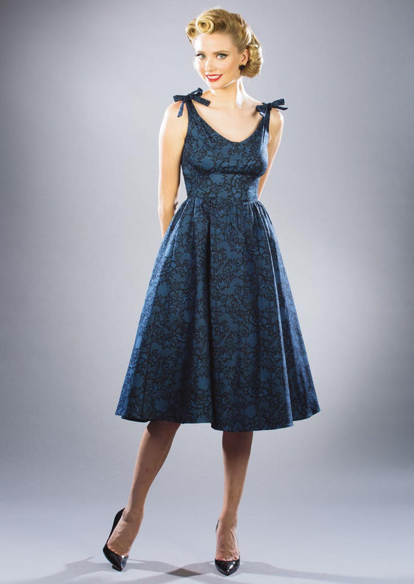Stop Staring Hollis Blue Lace Swing Dress