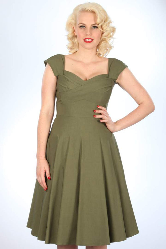 MadStyle MadMen Swing Dress in Olive