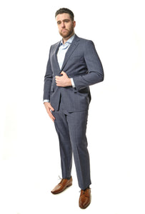 Classic Fit Navy Windowpane Suit
