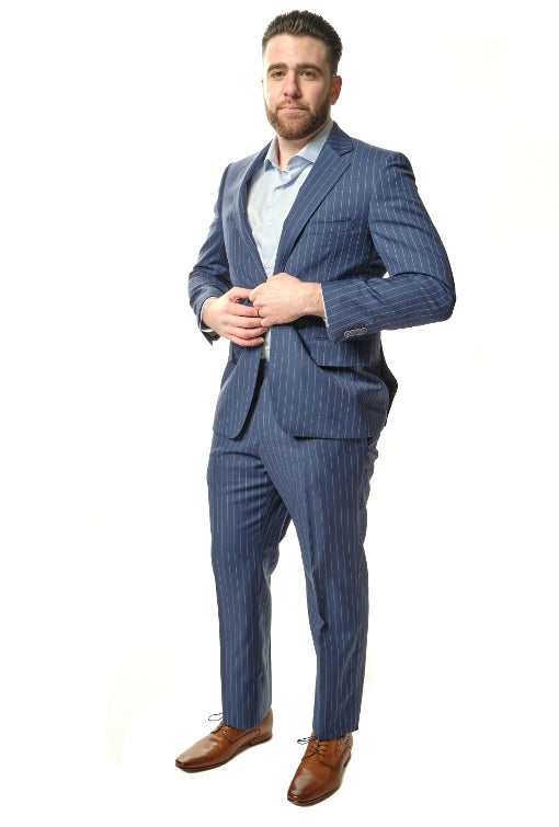 Classic Fit Stripe Blue Suit