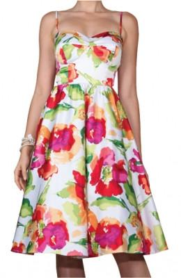 Stop Staring Sunshine Sateen Floral Swing Dress