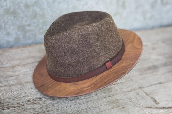 Wooden Walnut Brim Fedora Hat in Brown