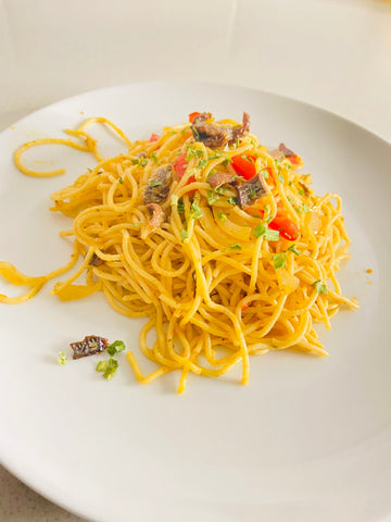 Spagetti And Smoked Herring Filets