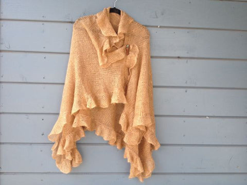 Golden Goddess Ruffle Shawl  SOLD