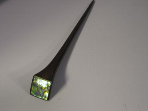 Wood & Abalone Shawl Pin  - Square