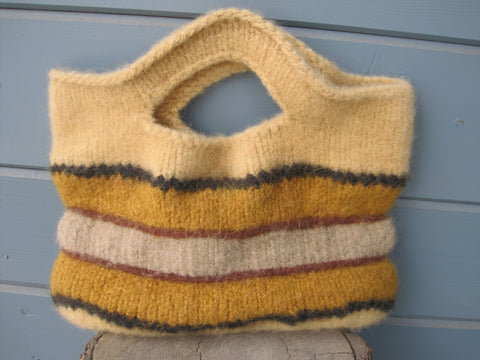 Sunflower Striped Felted Purse