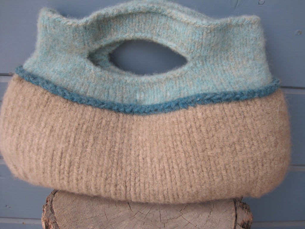 Aqua and Taupe Felted Purse - A Classic!