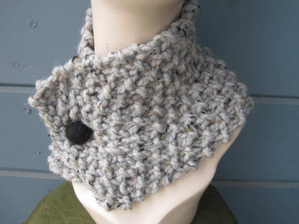 Marble Neck Warmer  / Head Scarf with Black Felted Button