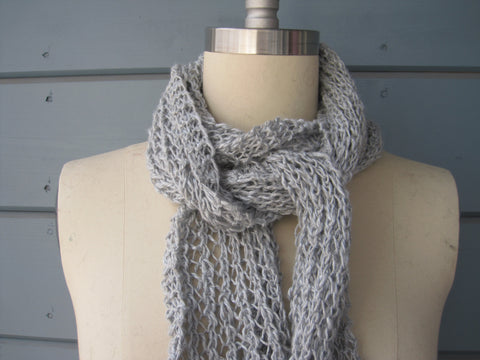 Silver Linen Lace Scarf