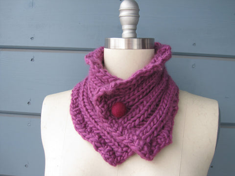 Finch Neck Warmer / Head Scarf with Fuchsia Felted Wool Button