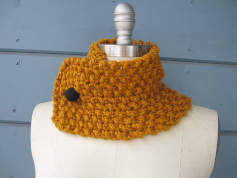 Butterscotch Neck Warmer / Head Scarf with Black Felted Button