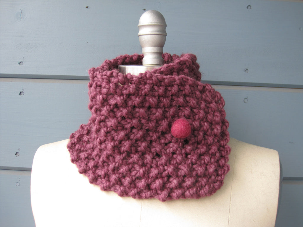 Mauve Neck Warmer With Berry Felted Wool Button Rivka Knit Designs