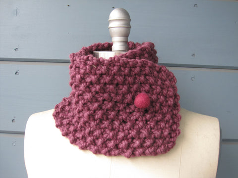 Mauve Neck Warmer with  Berry Felted Wool Button