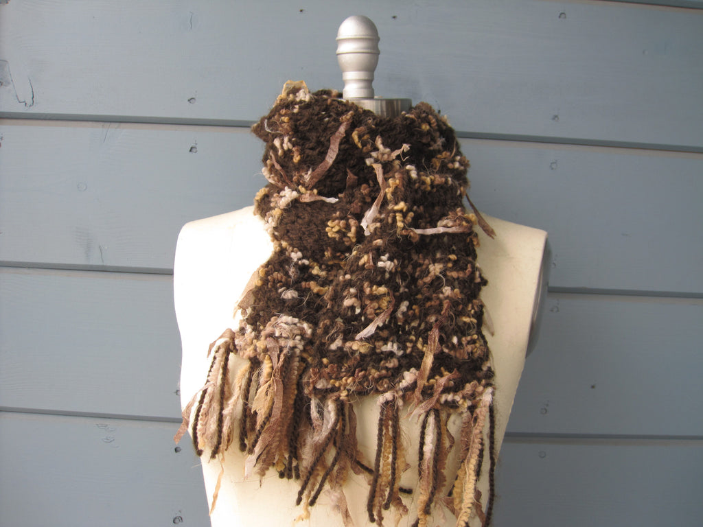 Brown Ribbon Scarf