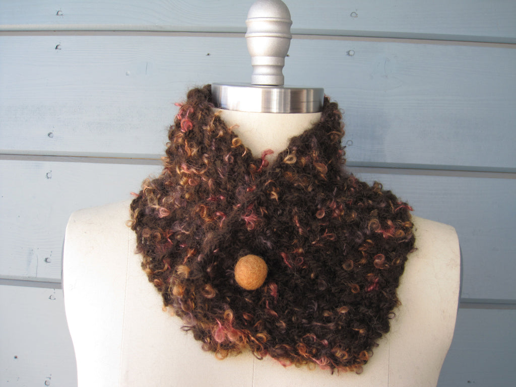 Peach and Brown Neck Warmer with Butterscotch Felted Button