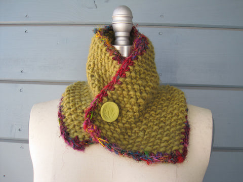 Lotus Neck Warmer with Recyclled Silk Sari Trim / Head Scarf $45. SOLD