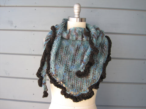 Teal Shawl/Scarf with Brown Ruffle Trim - Baby Alpaca Hand Spun & Hand Dyed            SOLD