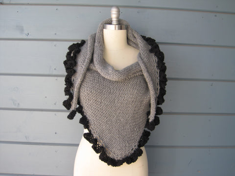 Steel and Ebony Ruffle Shawl - Baby Alpaca  SOLD