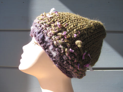 Loden Slouch Hat with Purple Band