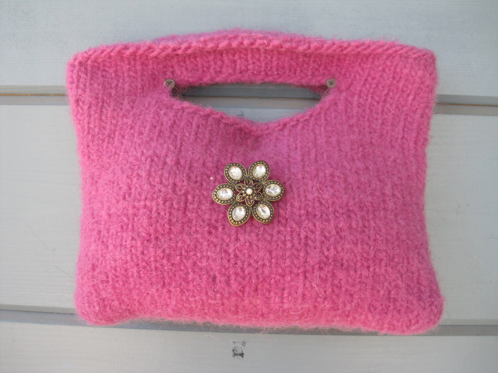Fuchia Felted Party Purse  - 100% Wool hand Dyed