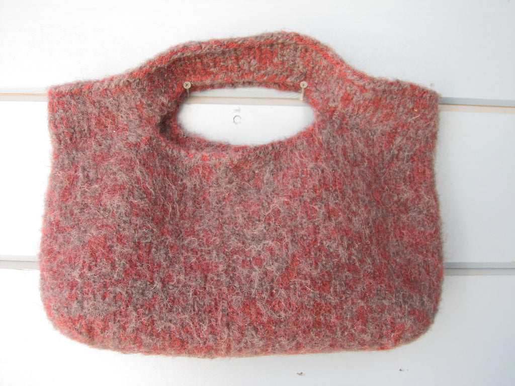Charcoal and Maroon Felted Purse