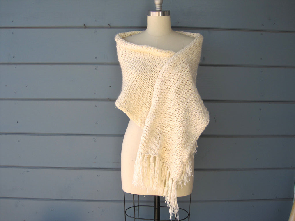 Ivory Shawl - Silk, Linen & Cotton