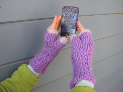 Lavender & Grey Fingerless Gloves - Texting Gloves