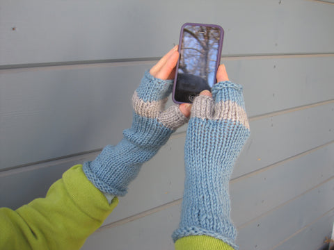 Aqua Grey Fingerless Gloves- Texting Gloves