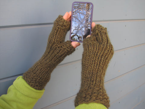 Loden Fingerless Gloves - Texting Gloves