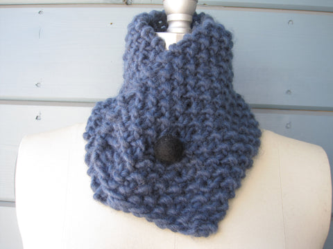 Blue Neck Warmer -Head Scarf withBlack Felted Button