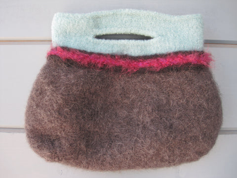Charcoal, Aqua & Fuchsia Felted Purse