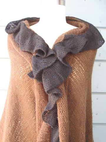 Espresso Wrap with Black Ruffle Trim