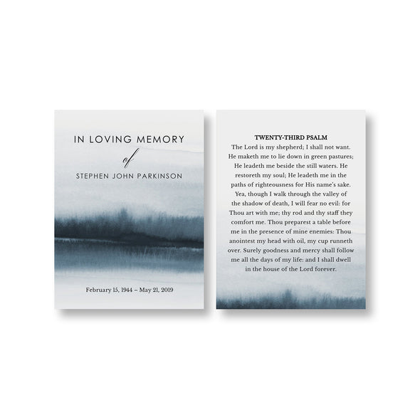 Lakeside Funeral Prayer Card Template 2